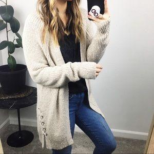 AEO oversized cream chunky cardigan sweater